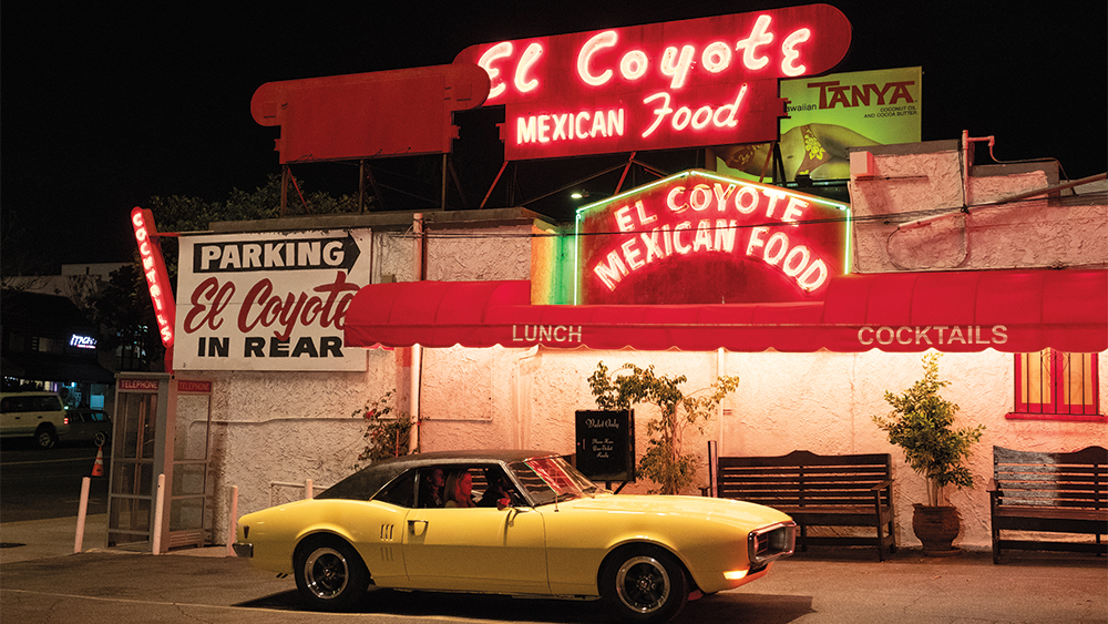 The '68 Firebird parked out front of the El Coyote Mexican restaurant