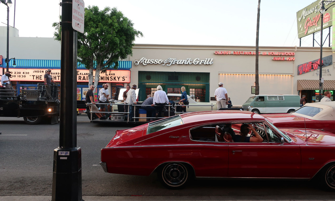 Filming of Once Upon a Time in Hollywood on the street - 1966 Dodge Charger in the foreground