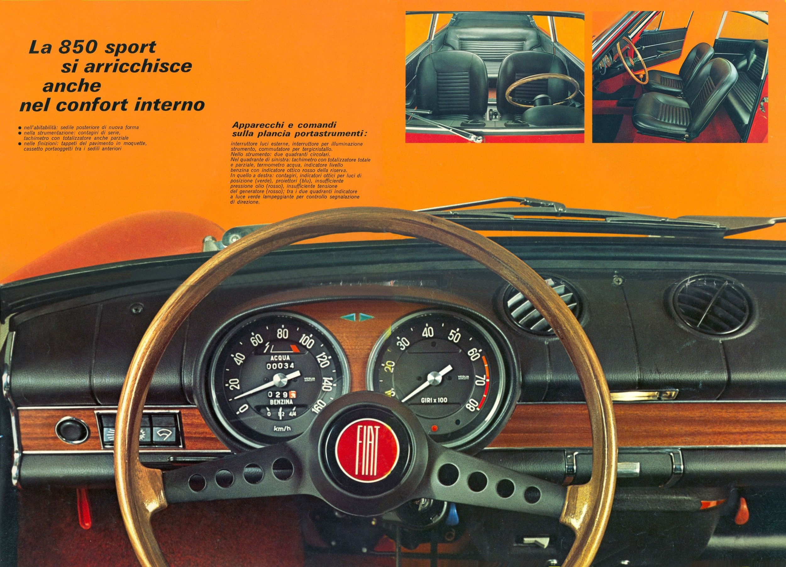 The 850 Coupe had a functional, stylish interior typical of Italian cars of the era.
