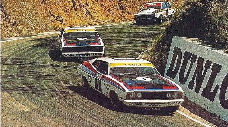 Ford 1-2 about to descend Mt Panorama on their way to glory at the 1977 Bathurst 1000