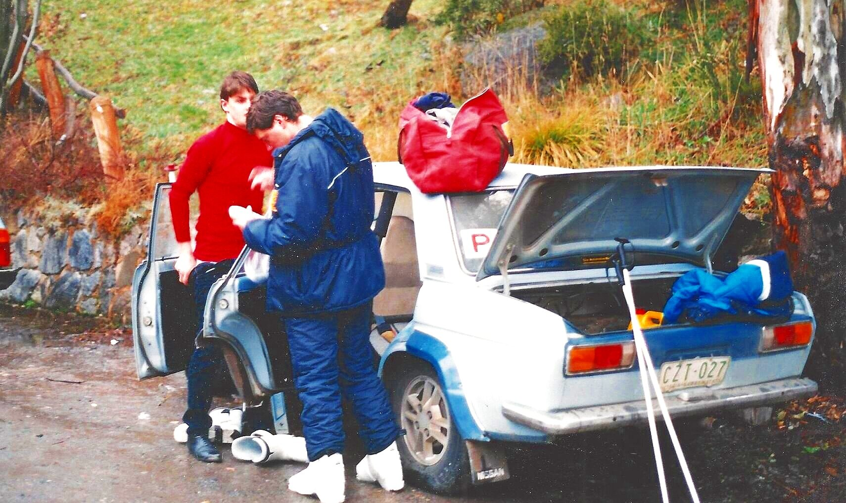 Greg and Dave preparing for a day of skiing - Thredbo 1988