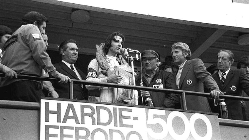 King of the mountain - Brock on the winners podium for his first victory at Mt Panorama in 1972. It would be the first of nine - vale Peter Brock