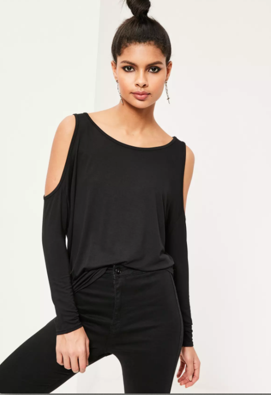 Photo via Missguided.com   Missguided, Cold Shoulder Tunic Top; $18