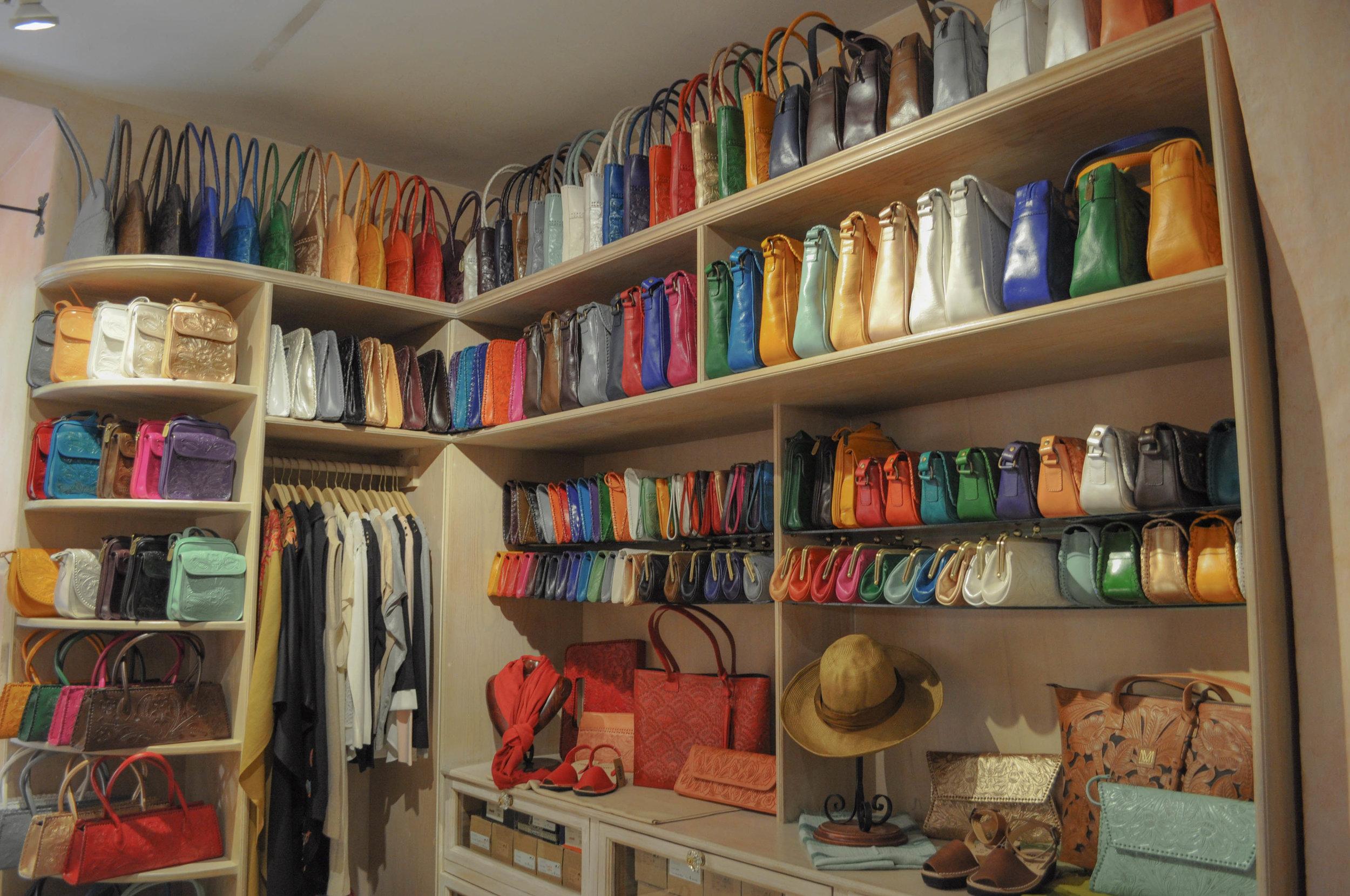 Colorful leather handbags