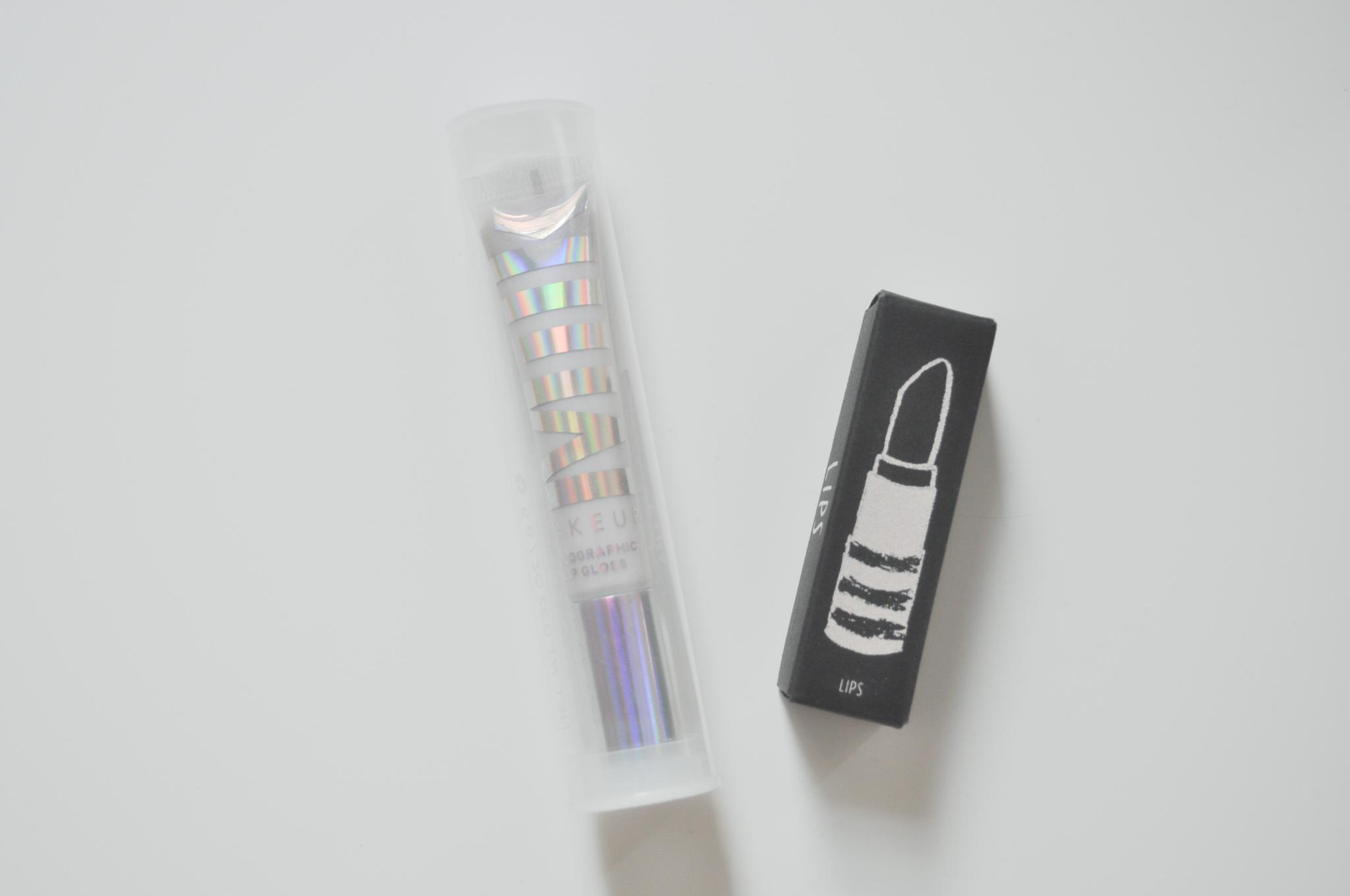 Milk Makeup Holographic Lip Gloss ,  Topshop Beauty Lipstick in Mercurial
