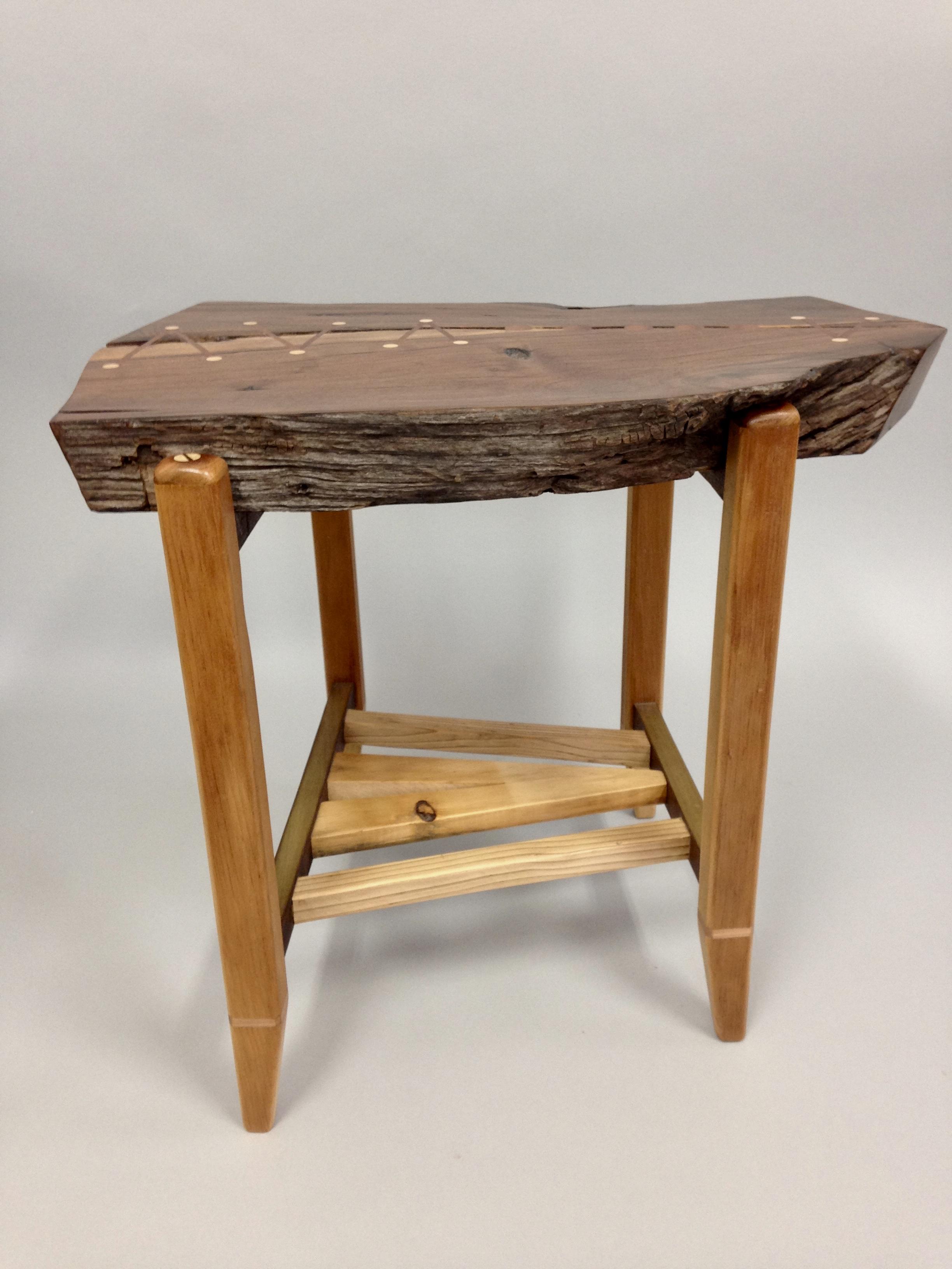 Walnut & pine side table