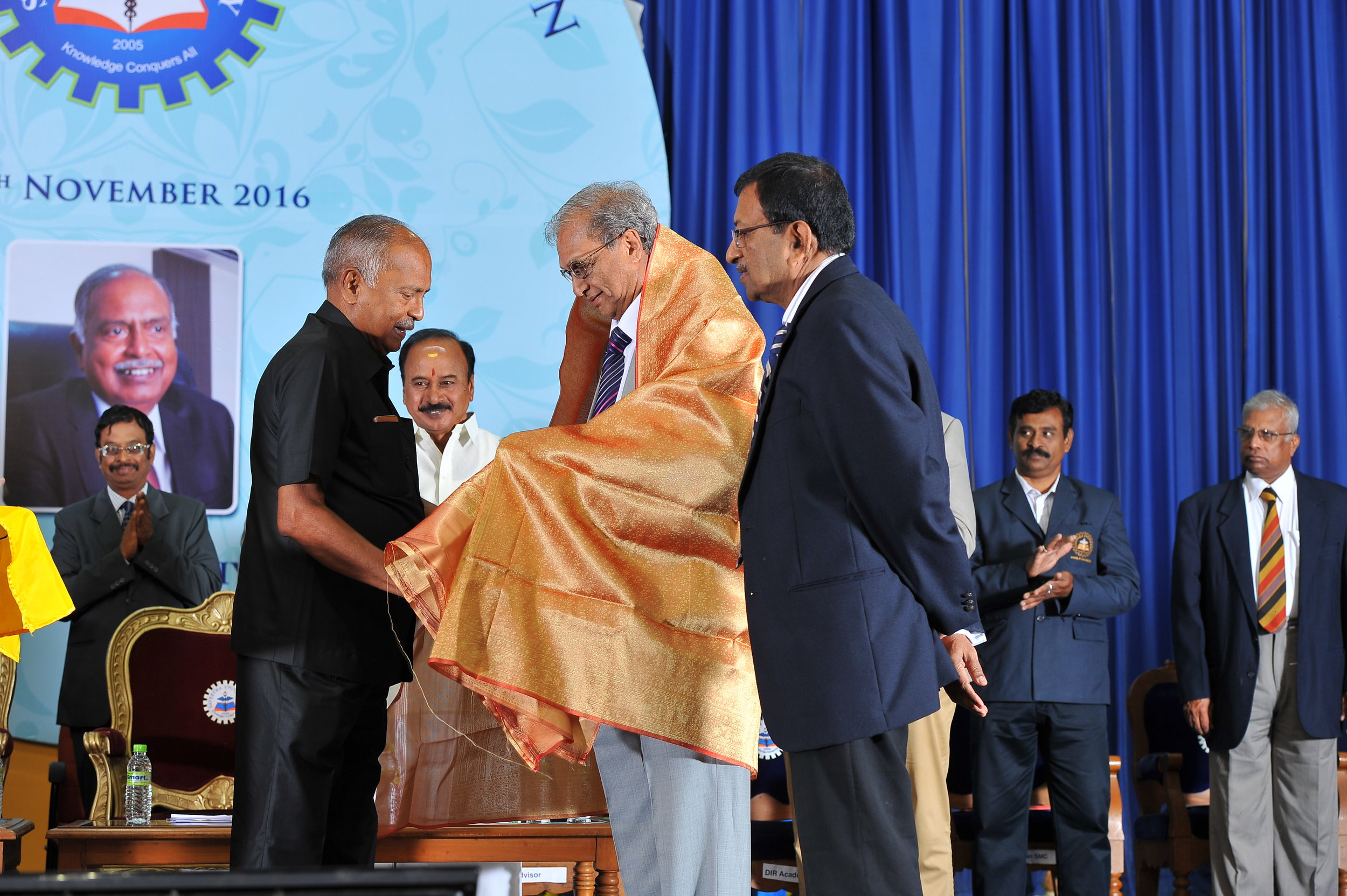 Dr. M. F. Baig honoured by Dr. N. M Veeraiyan, Chancellor of  Saveetha University for Life time Achievement.