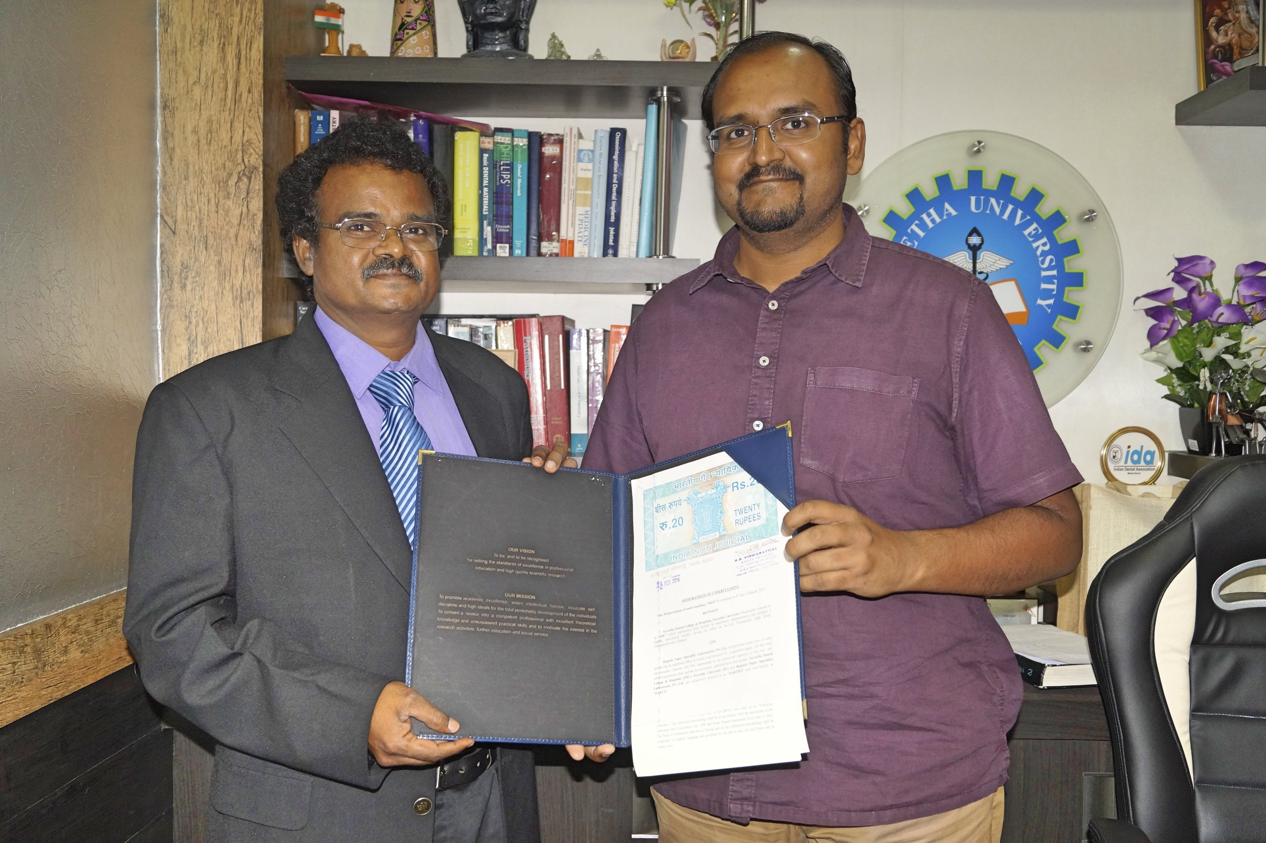 Dr.Subramanian & Dr.Deepak Nallasamy with the signed MOU