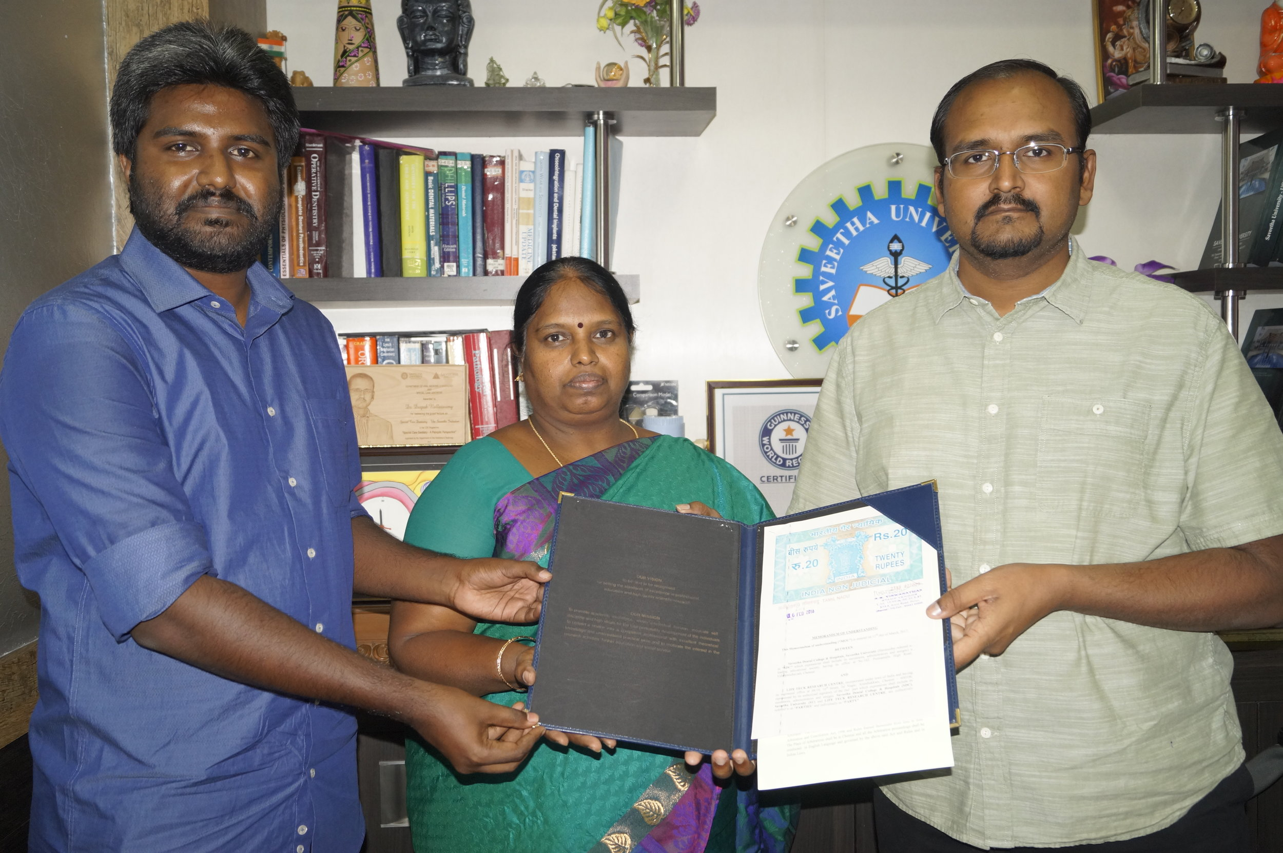 Dr.Seethalakshmi Illanchezian with Director of Academics, Saveetha Dental College.