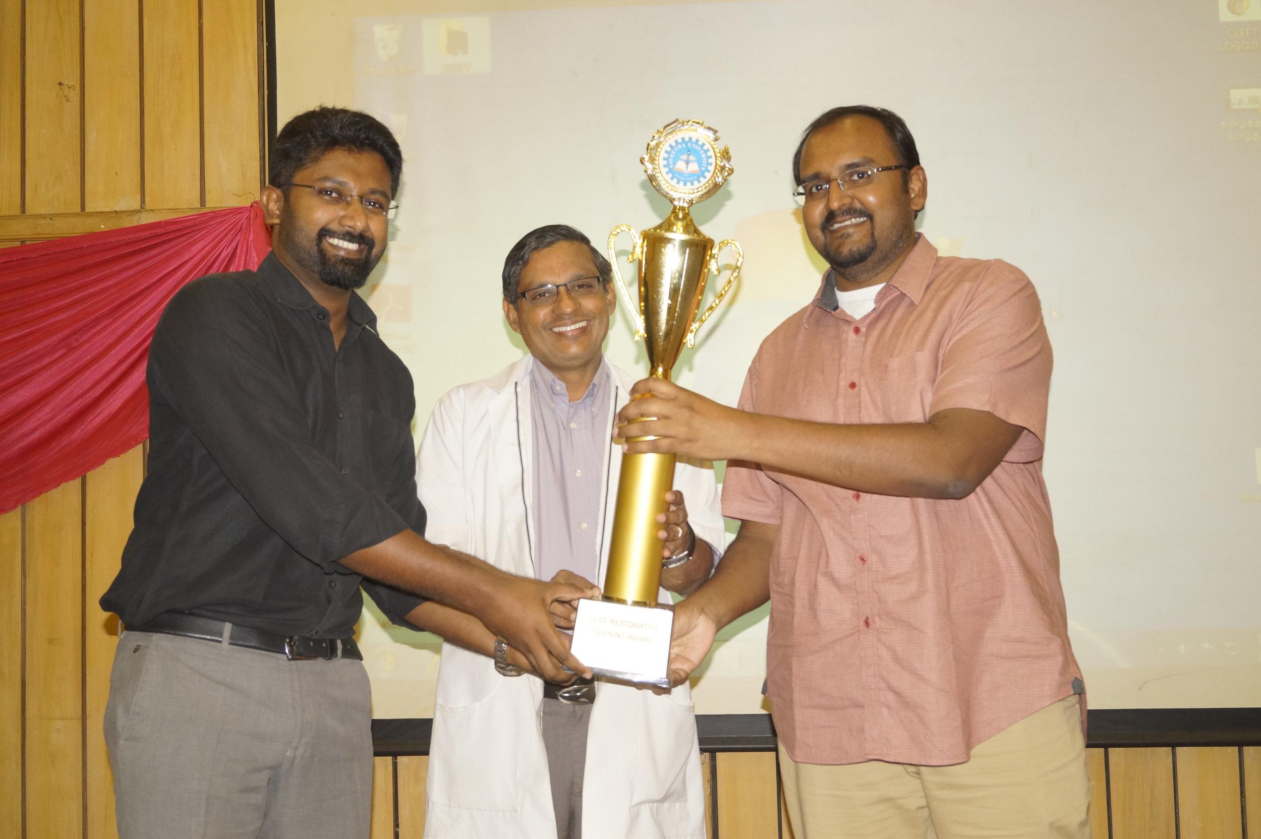 Dr.James receiving Highest Clinical Procedure Award
