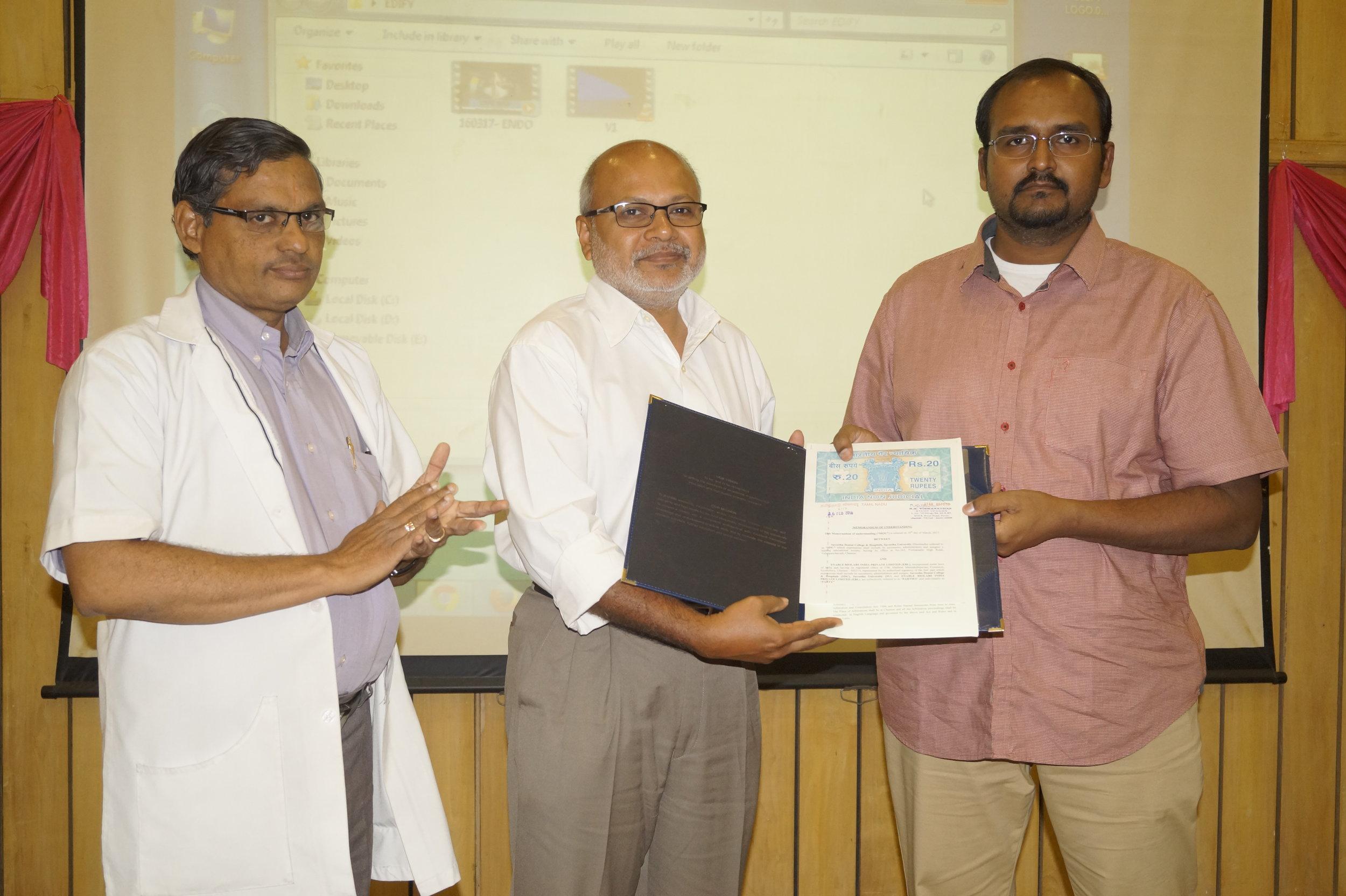 Dr.Arvind Ramanathan & Dr. Deepak Nallasamy, With the MOU