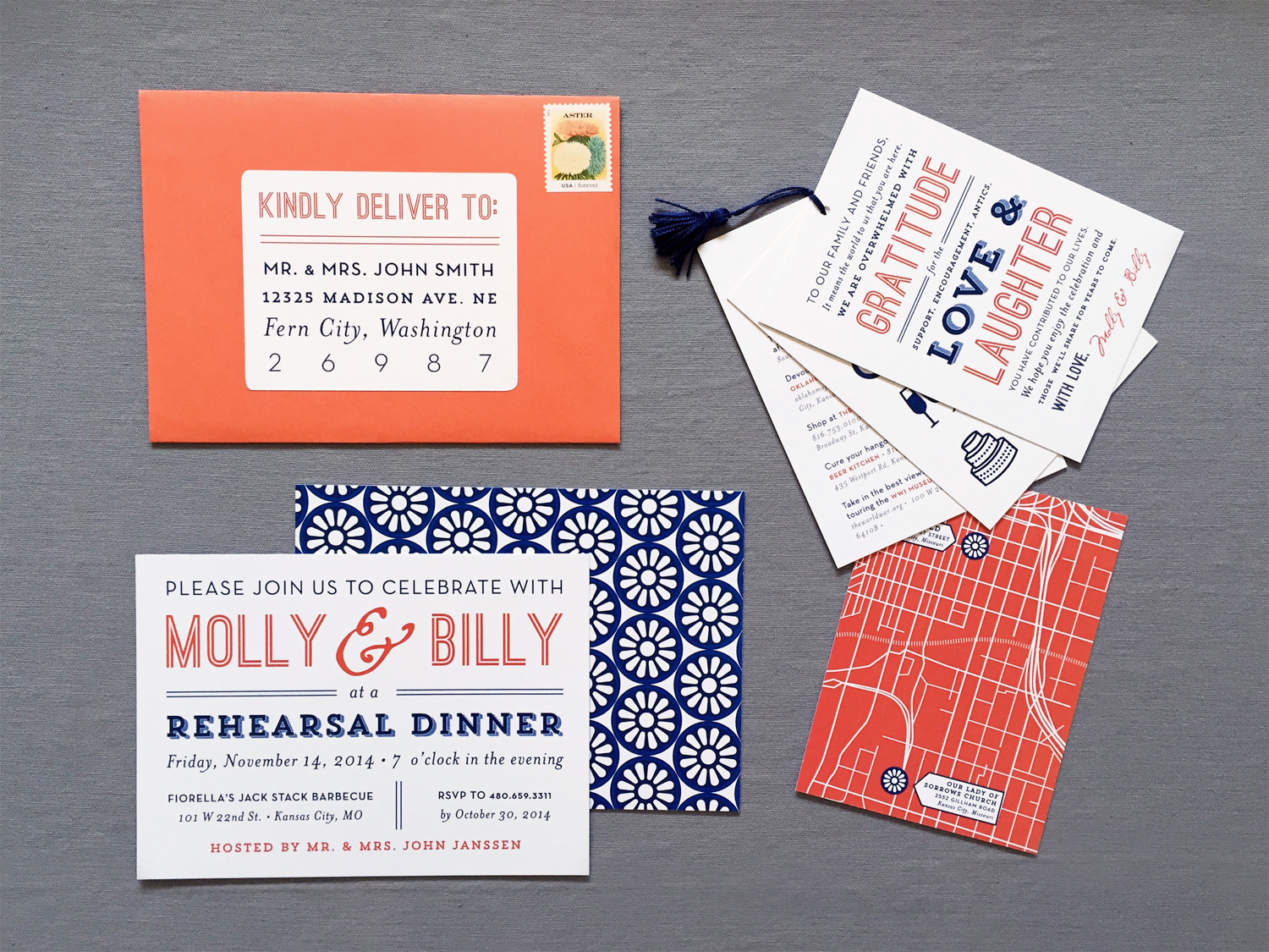 Modern Kansas City Wedding Rehearsal Dinner Invite