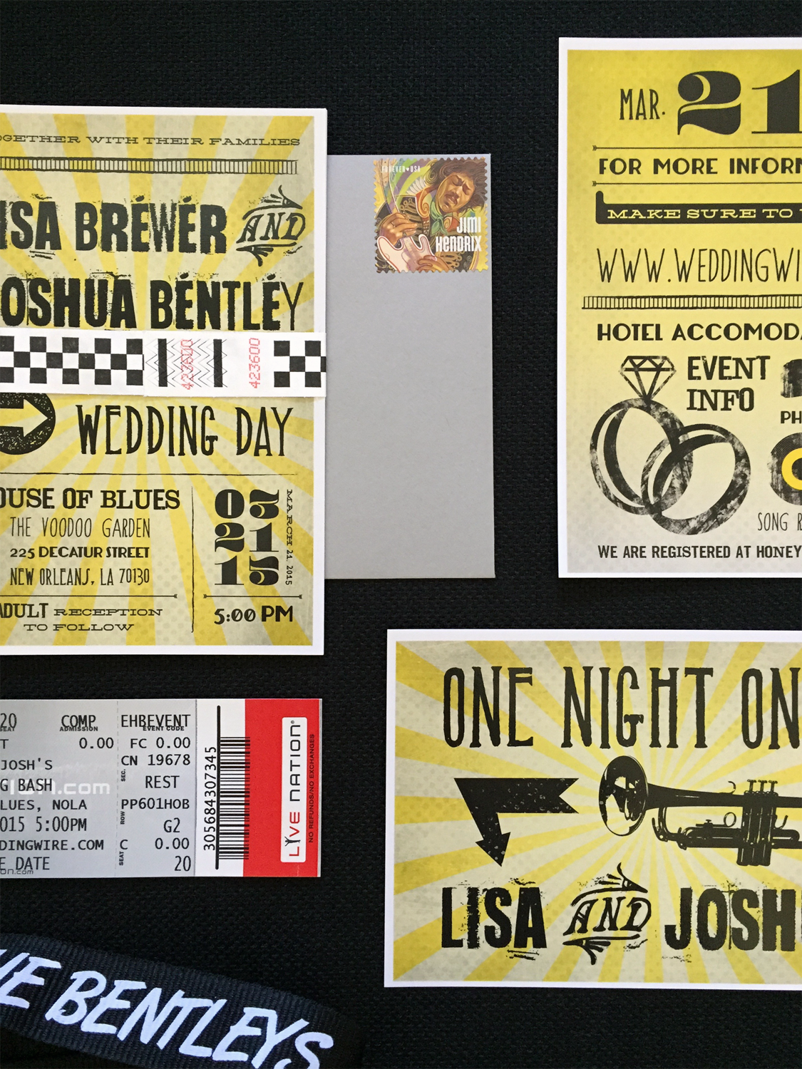 New Orleans Music-Themed Wedding Invitation Suite