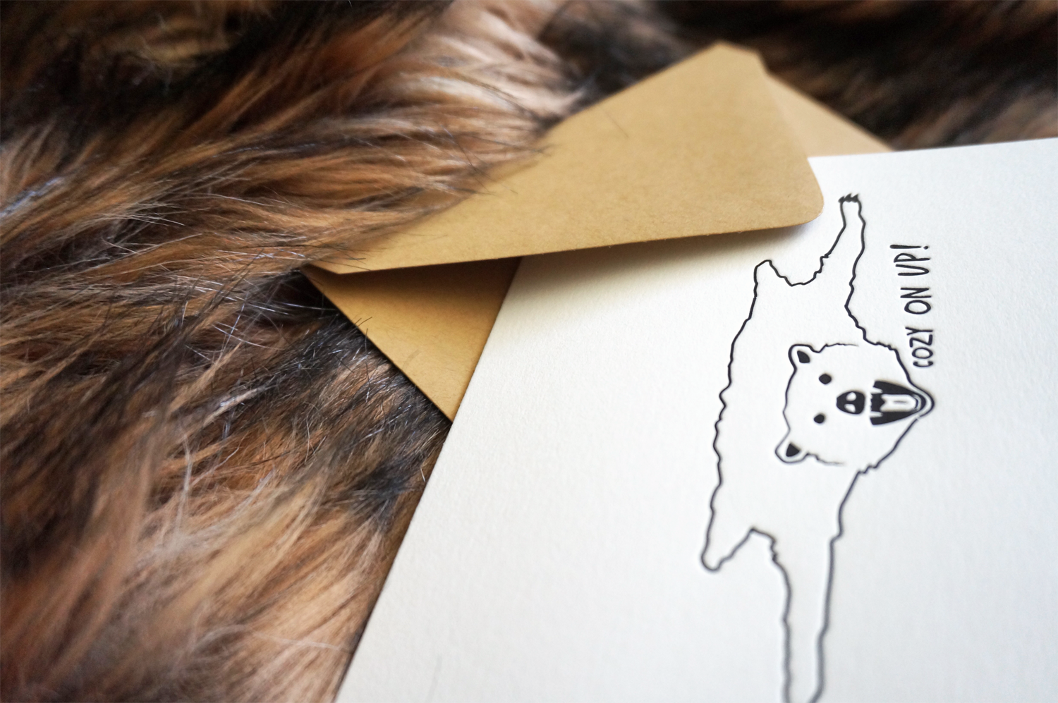 Cozy Bear Skin Rug Greeting Card