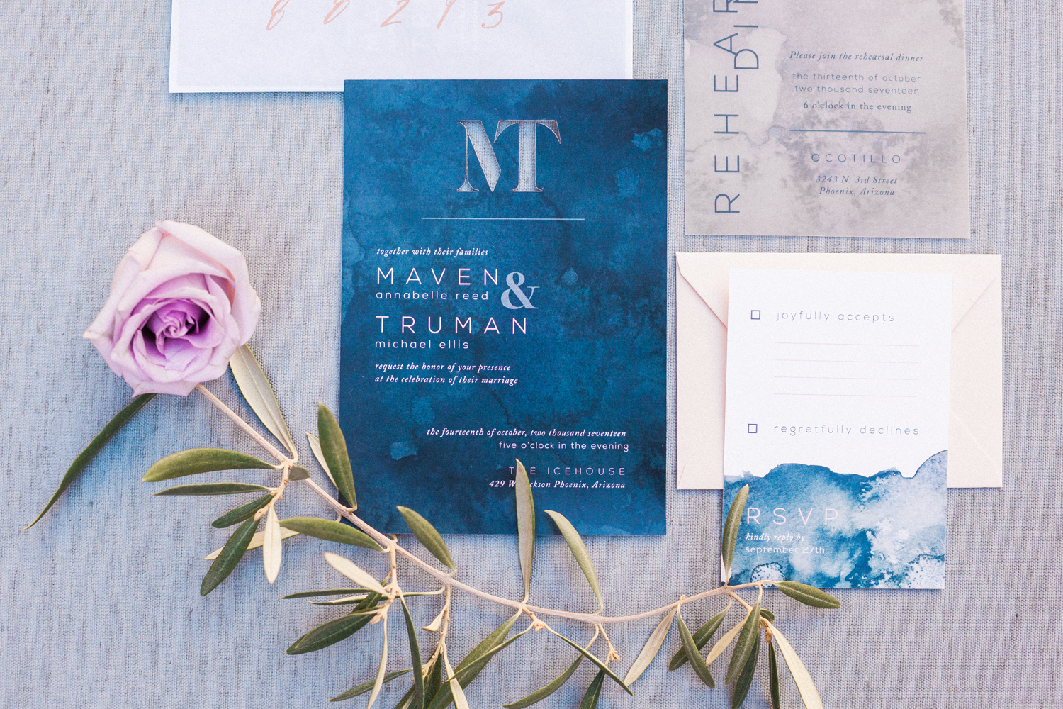 Moody Watercolor Invitation Suite