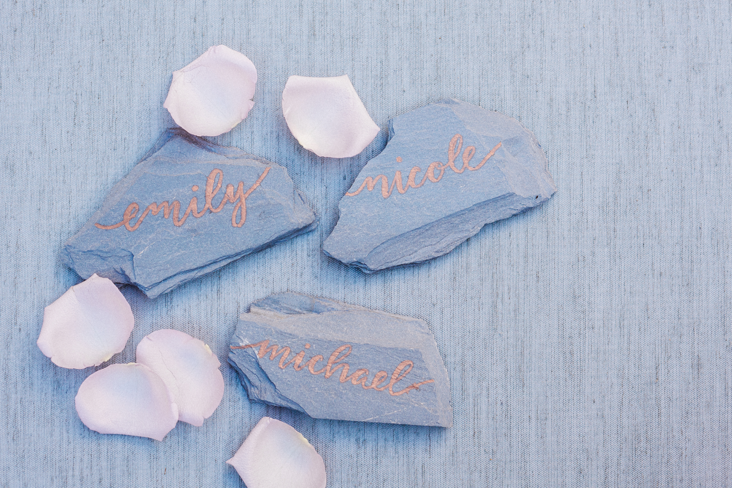 Slate Placecards with Copper Calligraphy