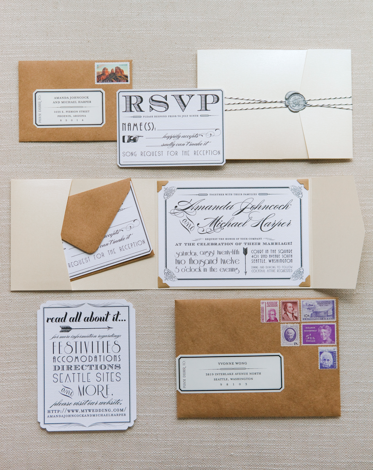 Seattle Vintage Glam Wedding Invitation Suite