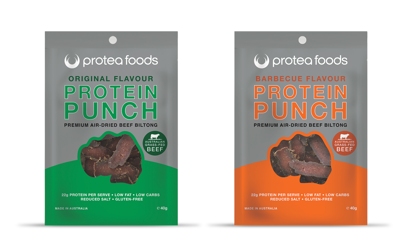 Protea Foods Protein Punch comes in two great flavours: Original and Barbecue