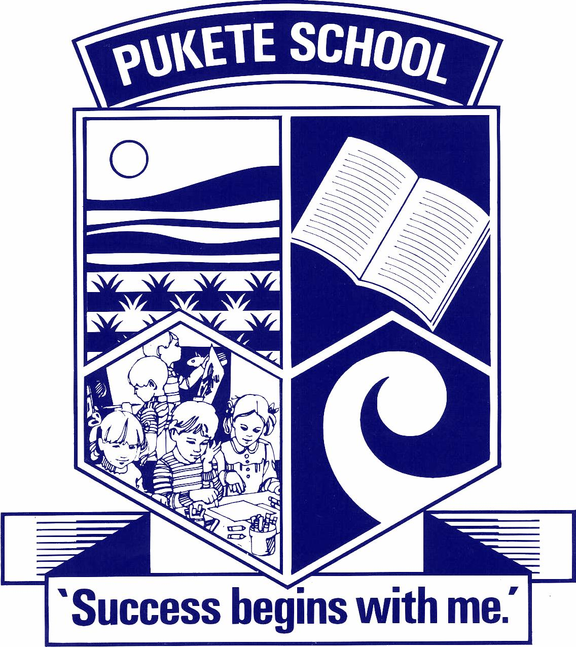"Our school emblem represents:   Top left-- is the Waikato River and the hill on which the old Pa site is located on Pukete Road.  Top right--the open book represents the sharing of knowledge.    Bottom left--represents our children eager and willing to learn.  Bottom right--the Koru represents our cultural diversity      Our Vison   Our vision for Pukete School is to create a community of confident critical thinkers who are open-minded, motivated, and socially responsible.  Pukete learners will be able to contribute to and succeed in our changing world.        Our Mission    "" Success Begins With Me""   We believe responsibility for successful learning is shared between family/whanau and teacher, and as a child grows and develops they will become more responsible for their own learning.  We believe that all children can be successful and we want them to believe in themselves.  We have a can do attitude to enable and empower every child to learn, create and succeed."