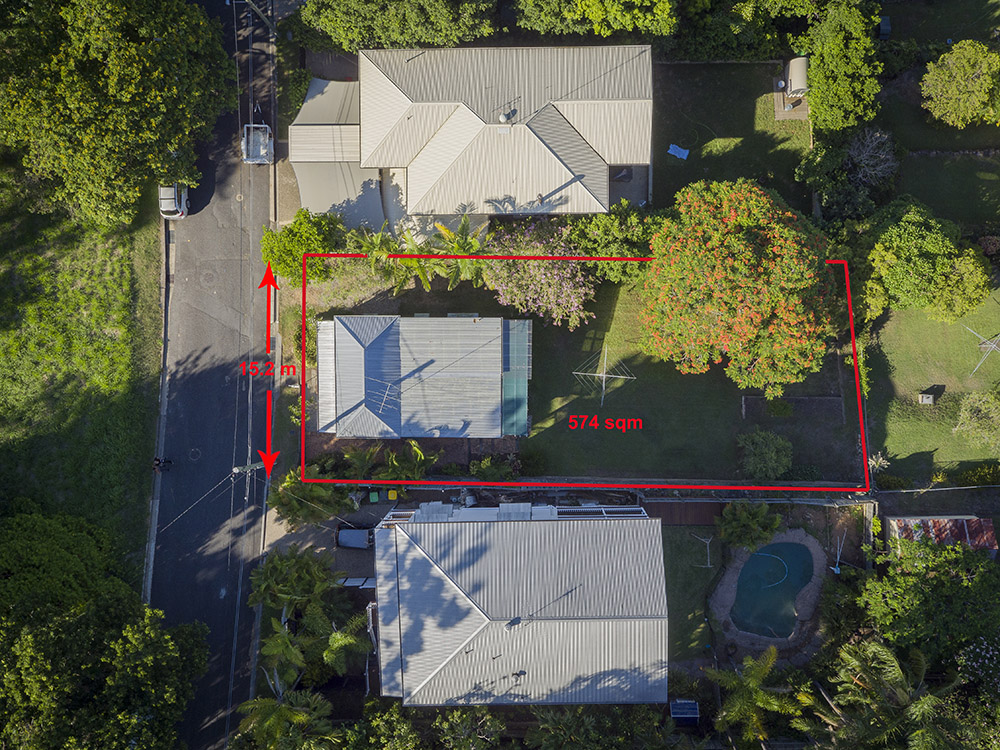 Drone aerial birds-eye-view for professional mark-ups for identifying property boundaries.