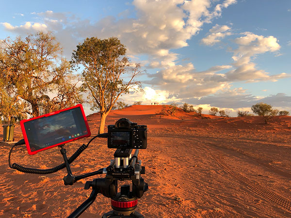 Camera and screen on location at Longreach, Australia's outback.