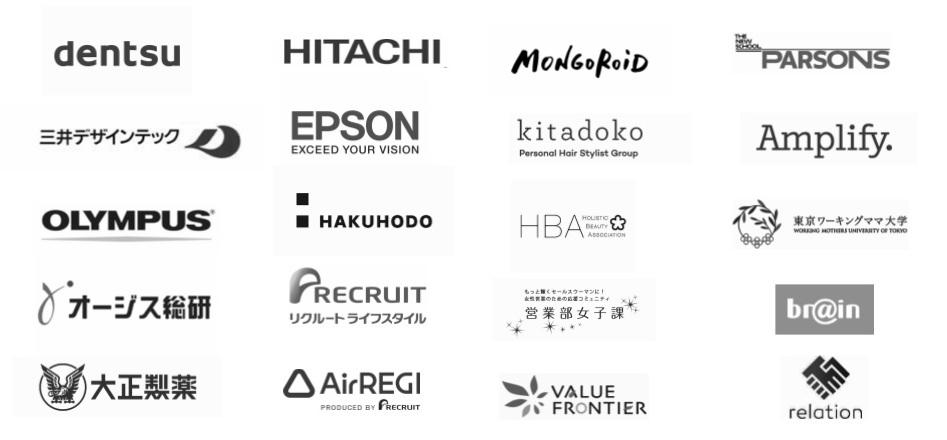 ワークショップ参加者の所属企業一覧、並びにクライアント企業