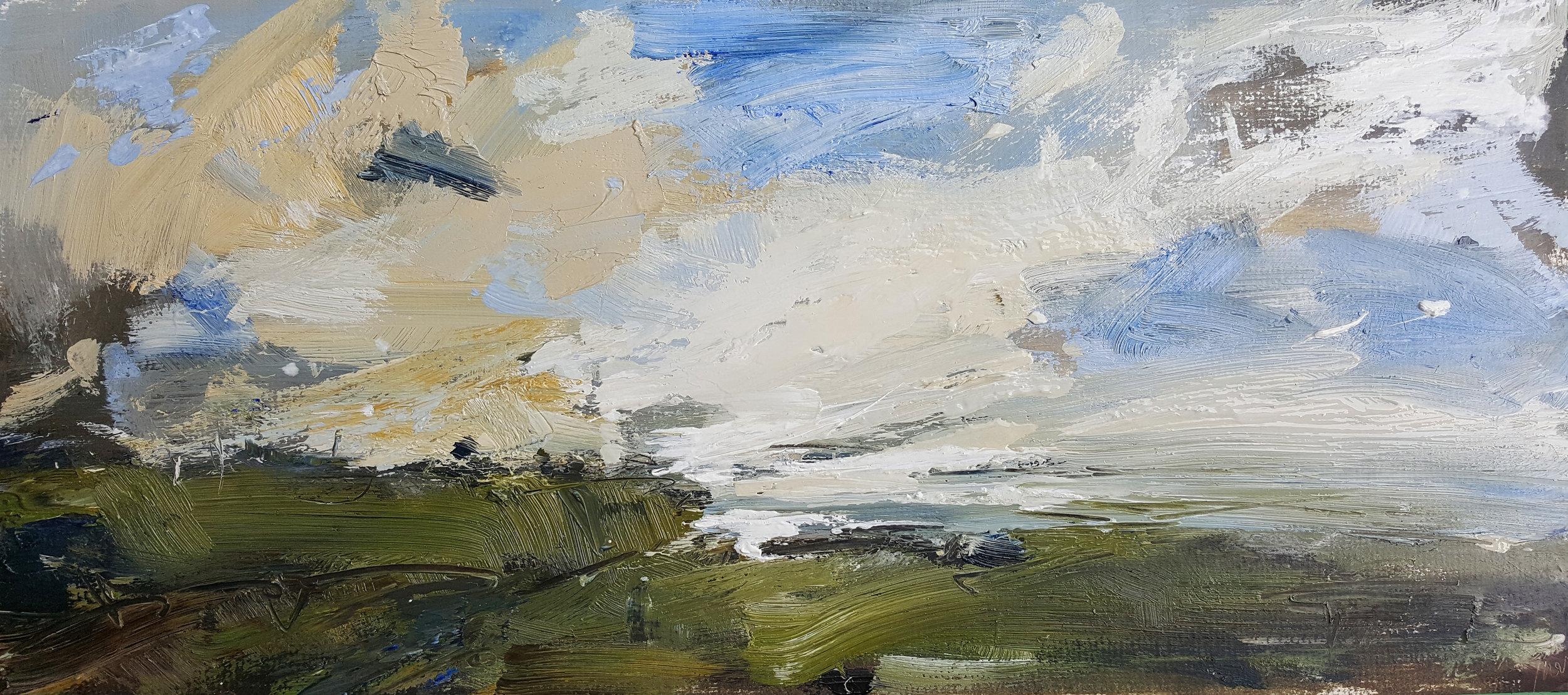 Windy skies oil on card 27x60cm.jpg