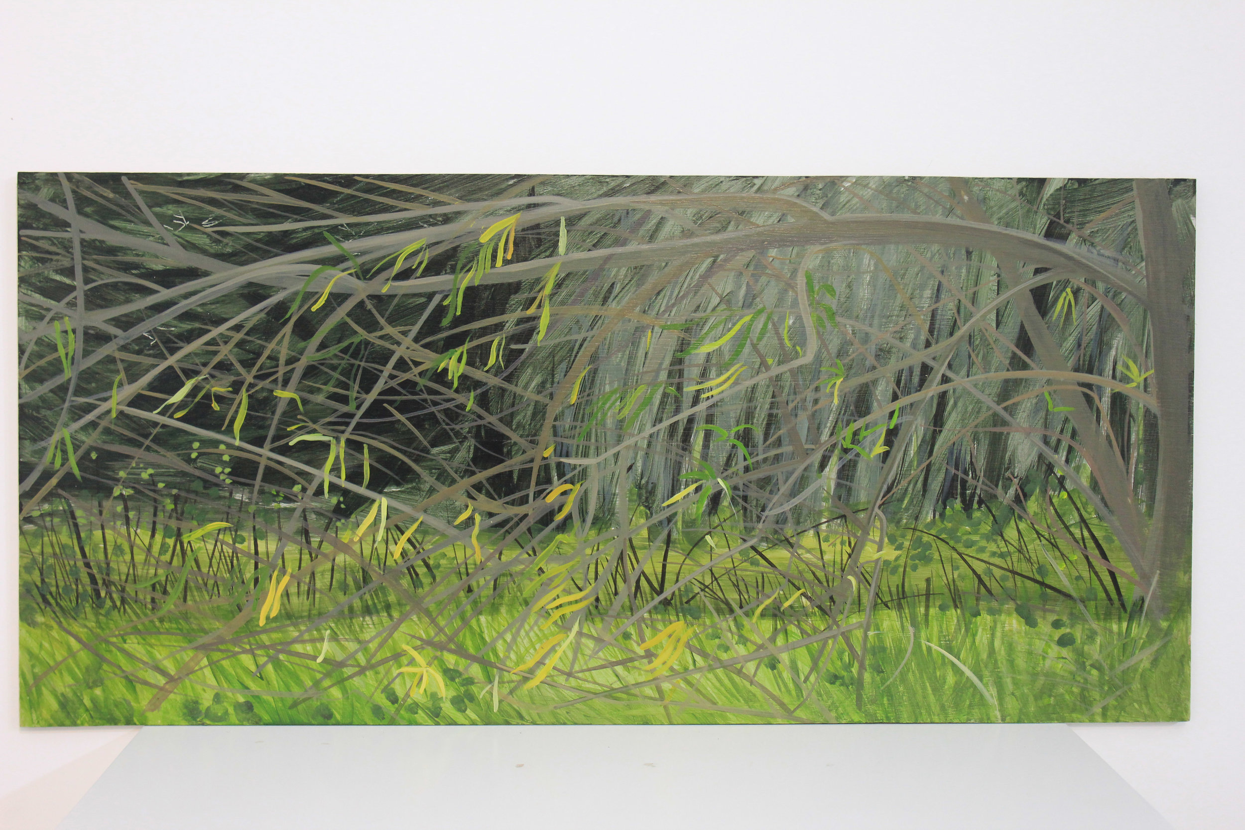 November Willows En Plein Air         Acrylic on Board 2017    80cm x 40cm  This painting is available for sale, please contact the artist for price and further details.