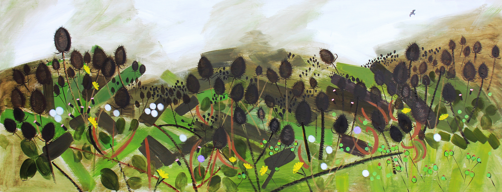 October Landscape Fearuring Teasels               Oil on Board 2018     180cm x 70cm