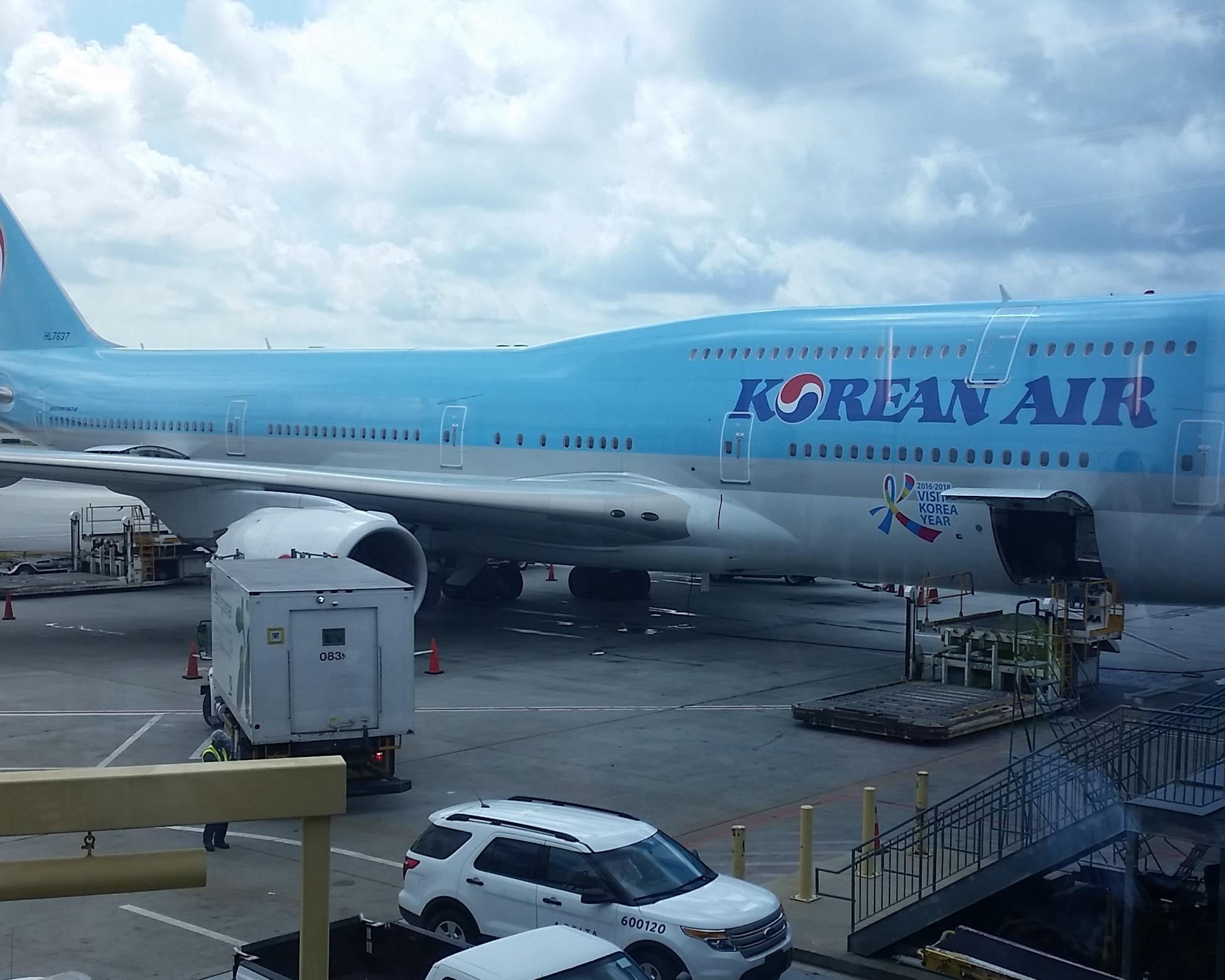 Preparing to board Korean Airlines