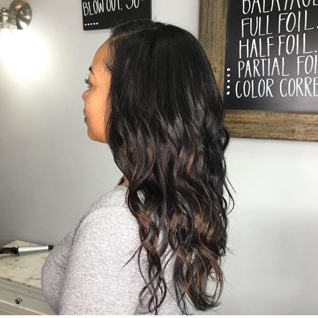 Full head of extensions and balayage by Emily