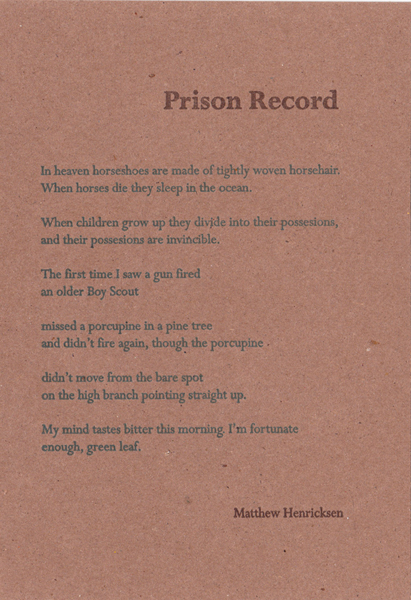 """Prison Record""  by Matthew Hendricksen"