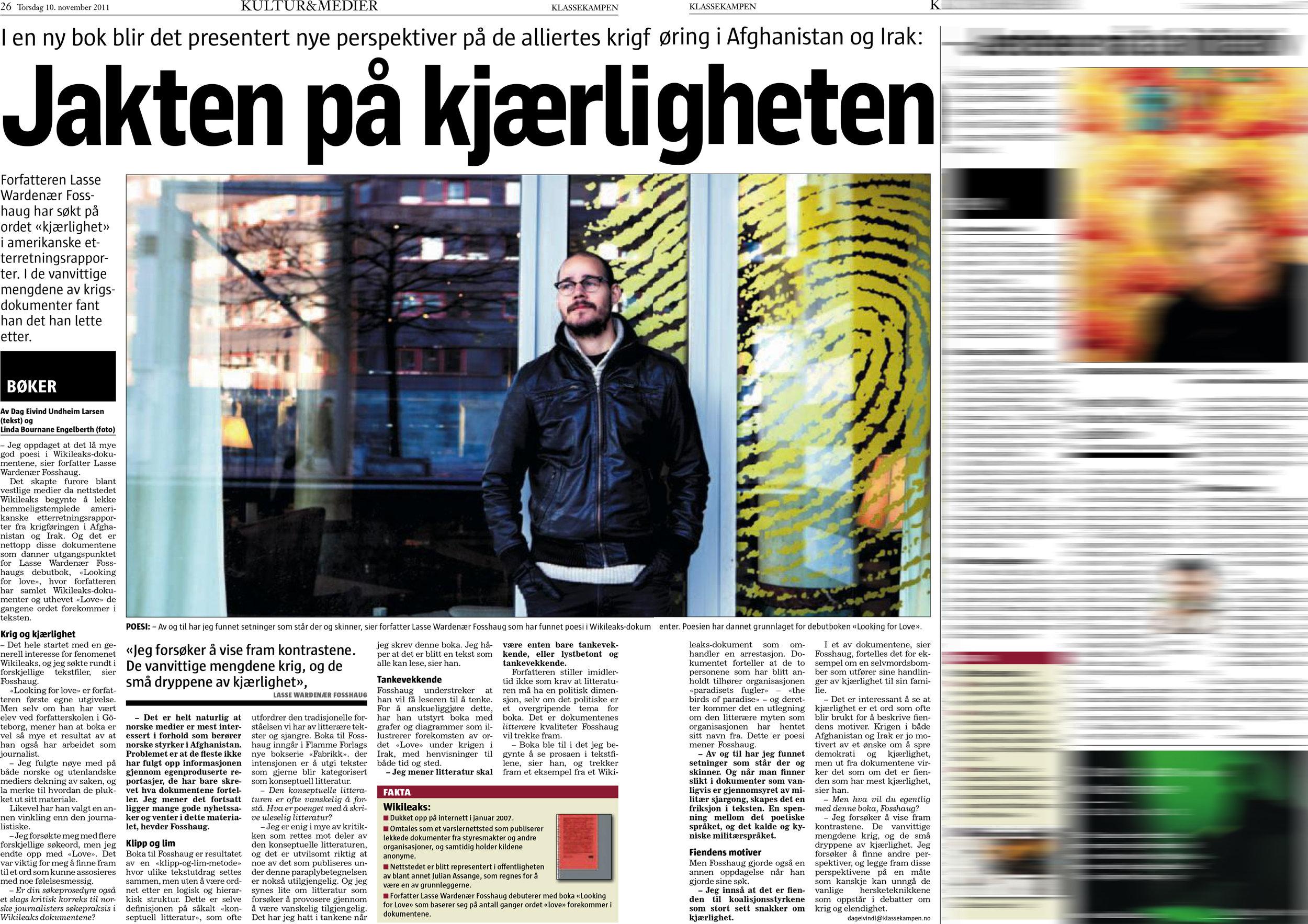 Faksimile fra Klassekampen 10. november 2010.