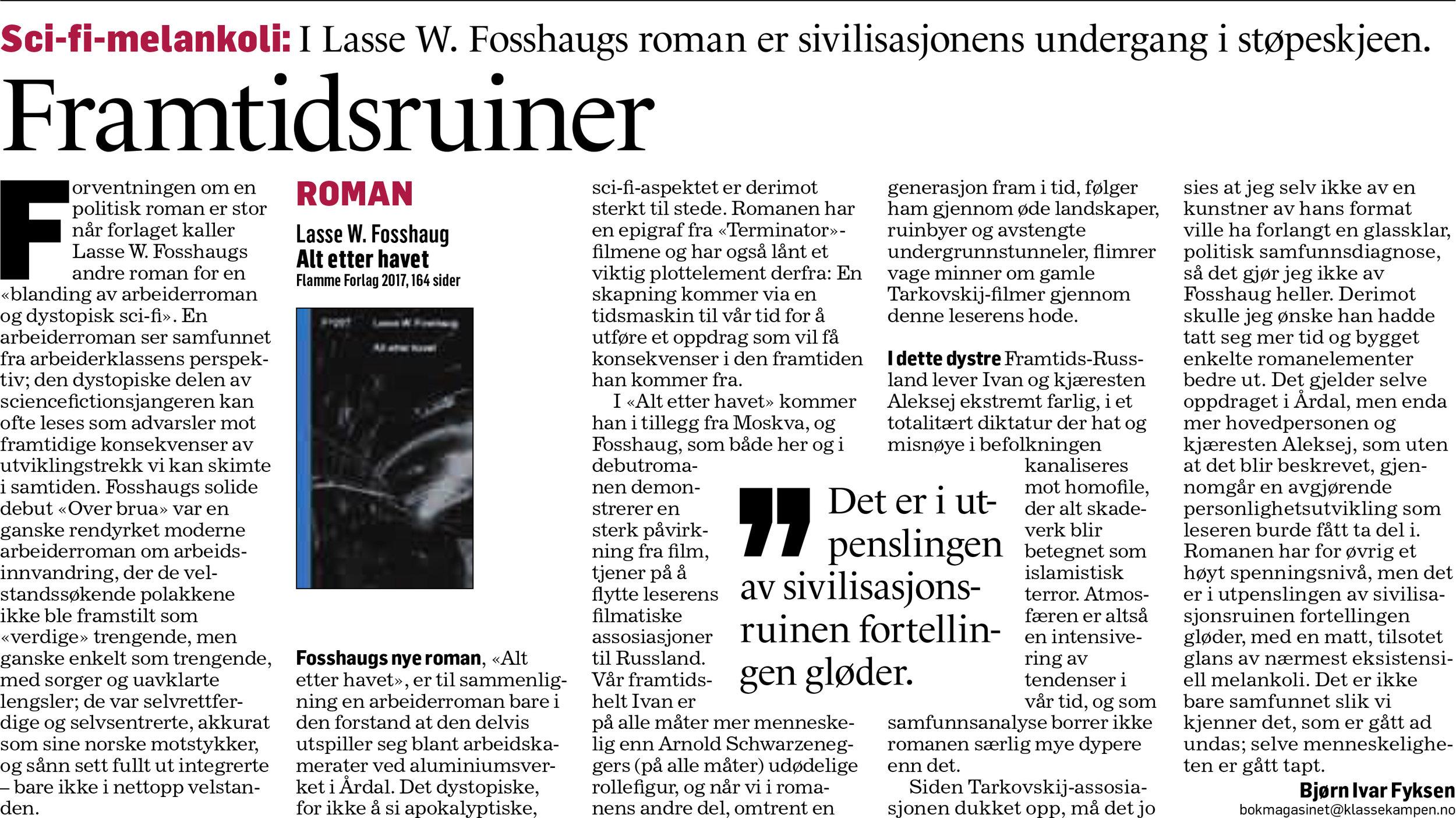 Faksimile fra Klassekampen Bokmagasinet 21. januar 2017.