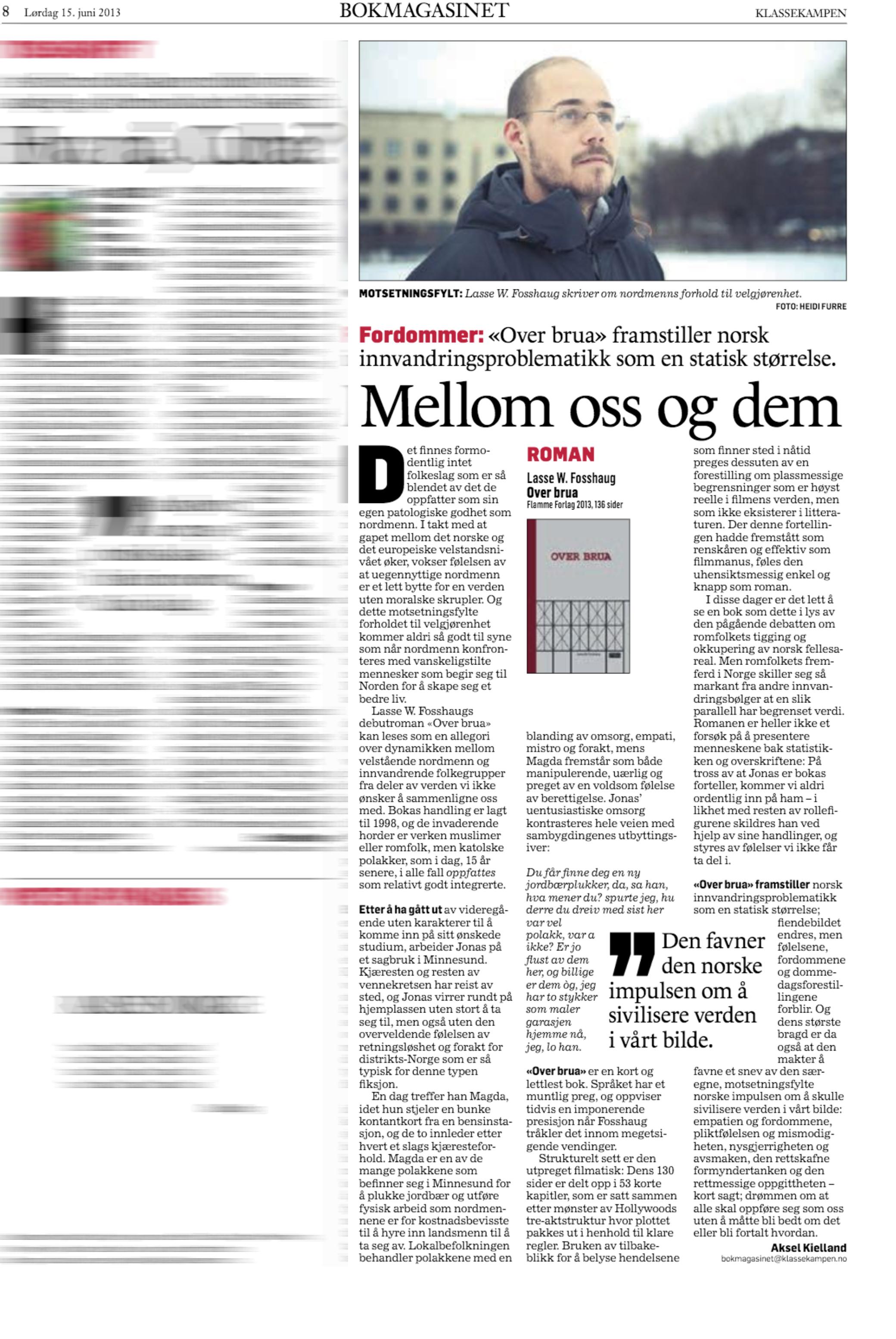 Faksimile Klassekampen Bokmagasinet 15. juni 2013