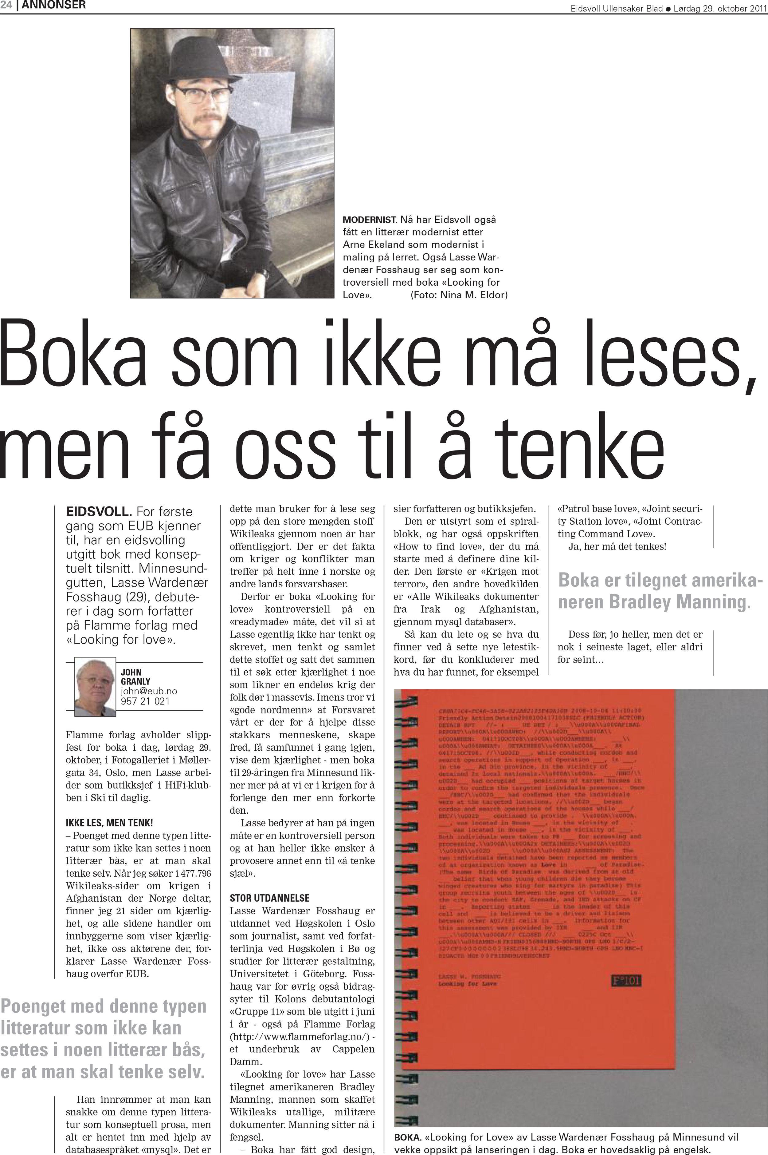 Faksimile Eidsvoll Ullensaker Blad 29. oktober 2011