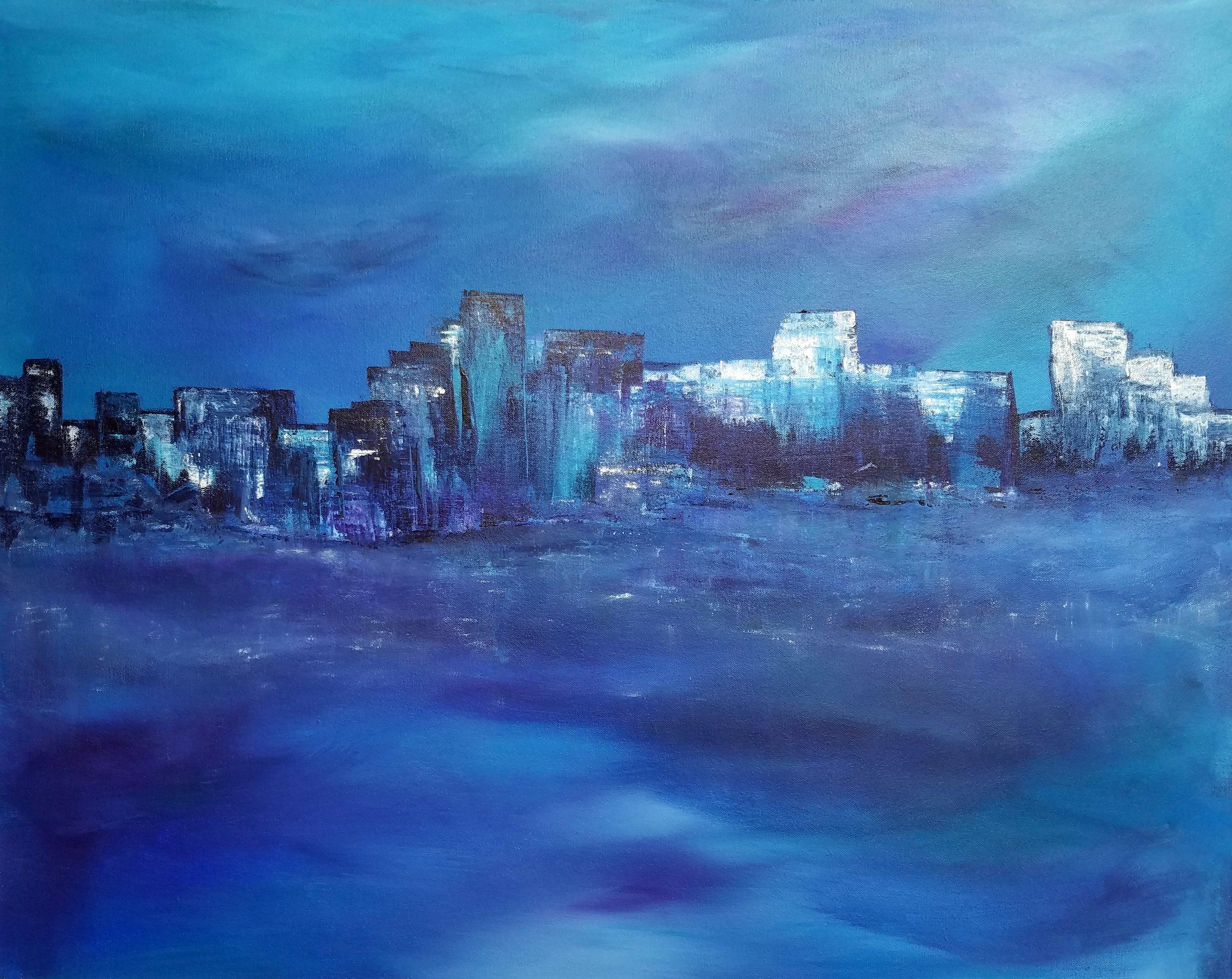 Stormy Night - 24 x 30 x 1.5, acrylic  (c) Linda Wimberly 2018