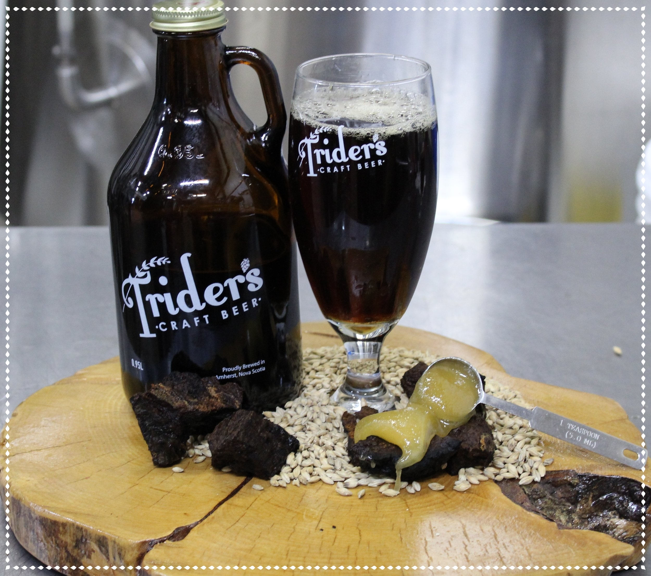 Chaga-Lug That New Brown Ale - Introducing the newest addition to the Trider's Line-up; Honey Chaga-Lug Brown Ale. An earthy yet sweet Brown Ale that is heavy on the Chaga! We are pumped to have used local honey, Chaga, and hops in this brew and invite you to come give it a try!! We are stocked with Growlers and Grunters. 500ml bottles soon to come!