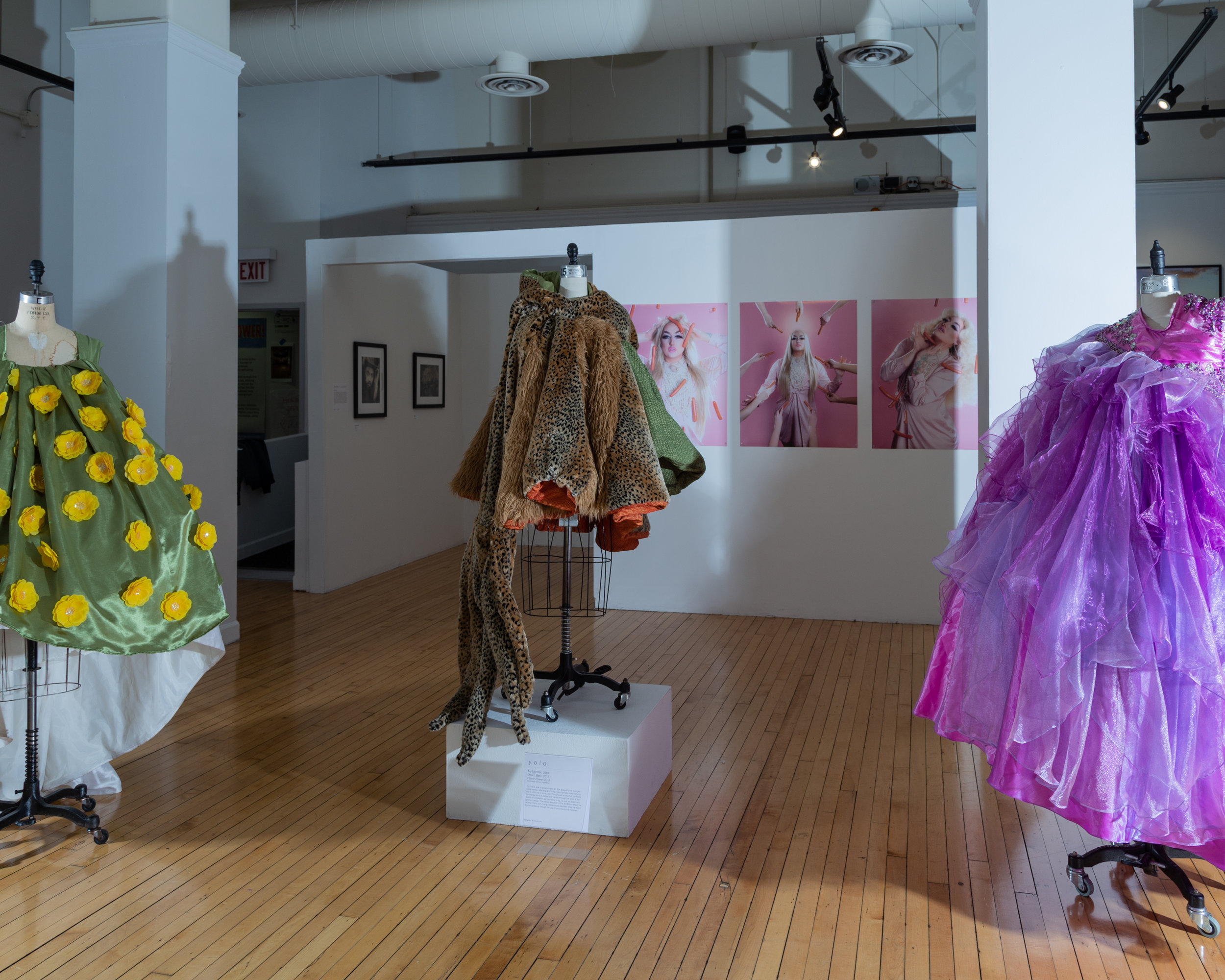 Foreground: Dresses by Yolo Ono. Background: Honey Dijon shot by Alex Wallbaum. Hokin Gallery, Chicago IL. March 2019.
