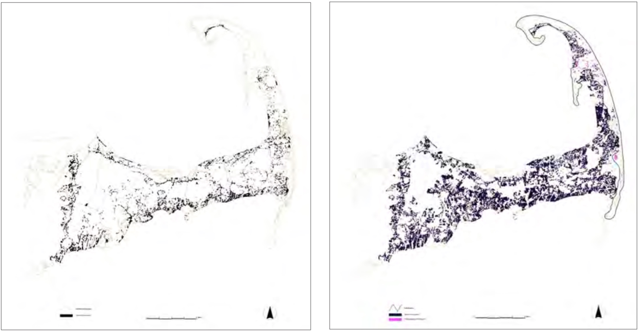 Residential development on Cape Cod, 1951 and 1999 (Source: UMass/Mass GIS, 2004)