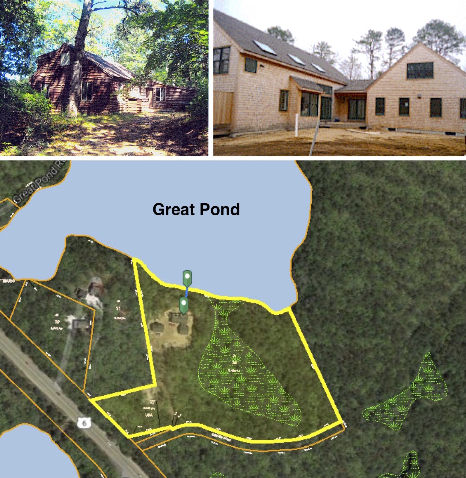 The 1940's 1,504 sq. ft. cottage   was recently replaced by this 3,988 sq. ft. house on Great Pond without Site Plan Review.