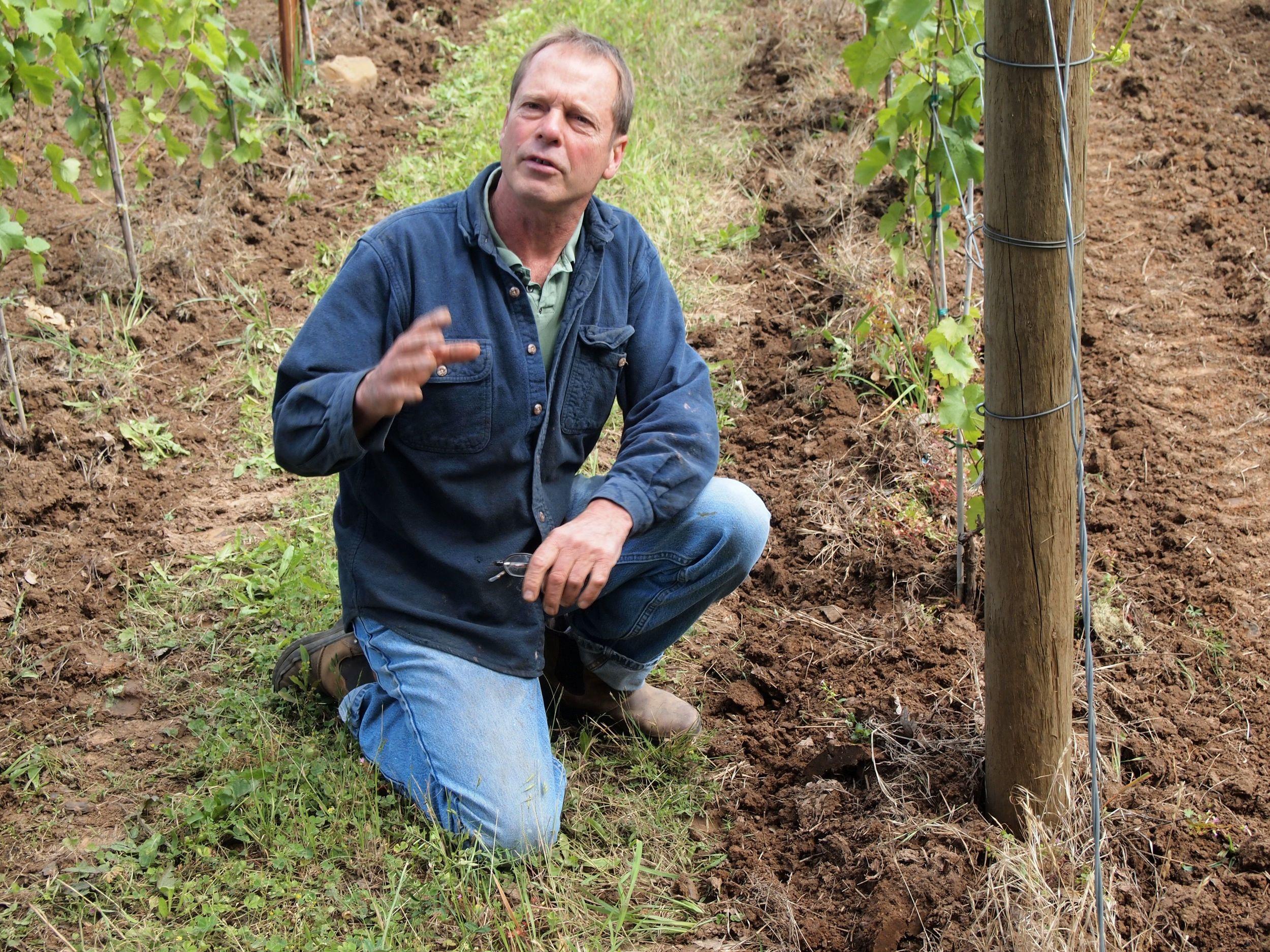 Michel Etzel of Beaux Frères in his biodynamically farmed estate vineyard in Ribbon Ridge AVA