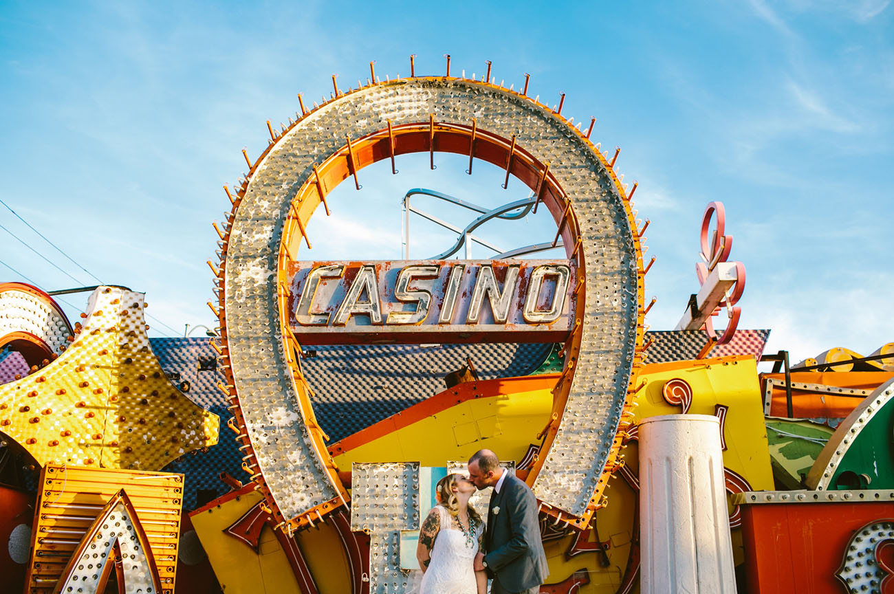 A wedding at the Neon Museum