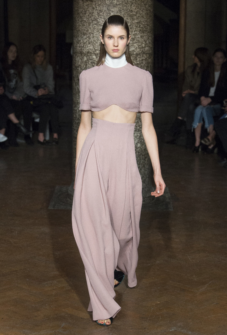 Who said crop tops and pastels had to retire after summer?  Emilia WIckstead, Courtesy of Vogue.