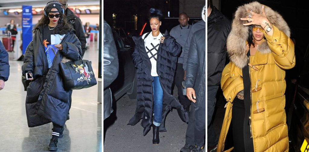 Do like Rihanna and pair your puffer with a monochromatic lens.