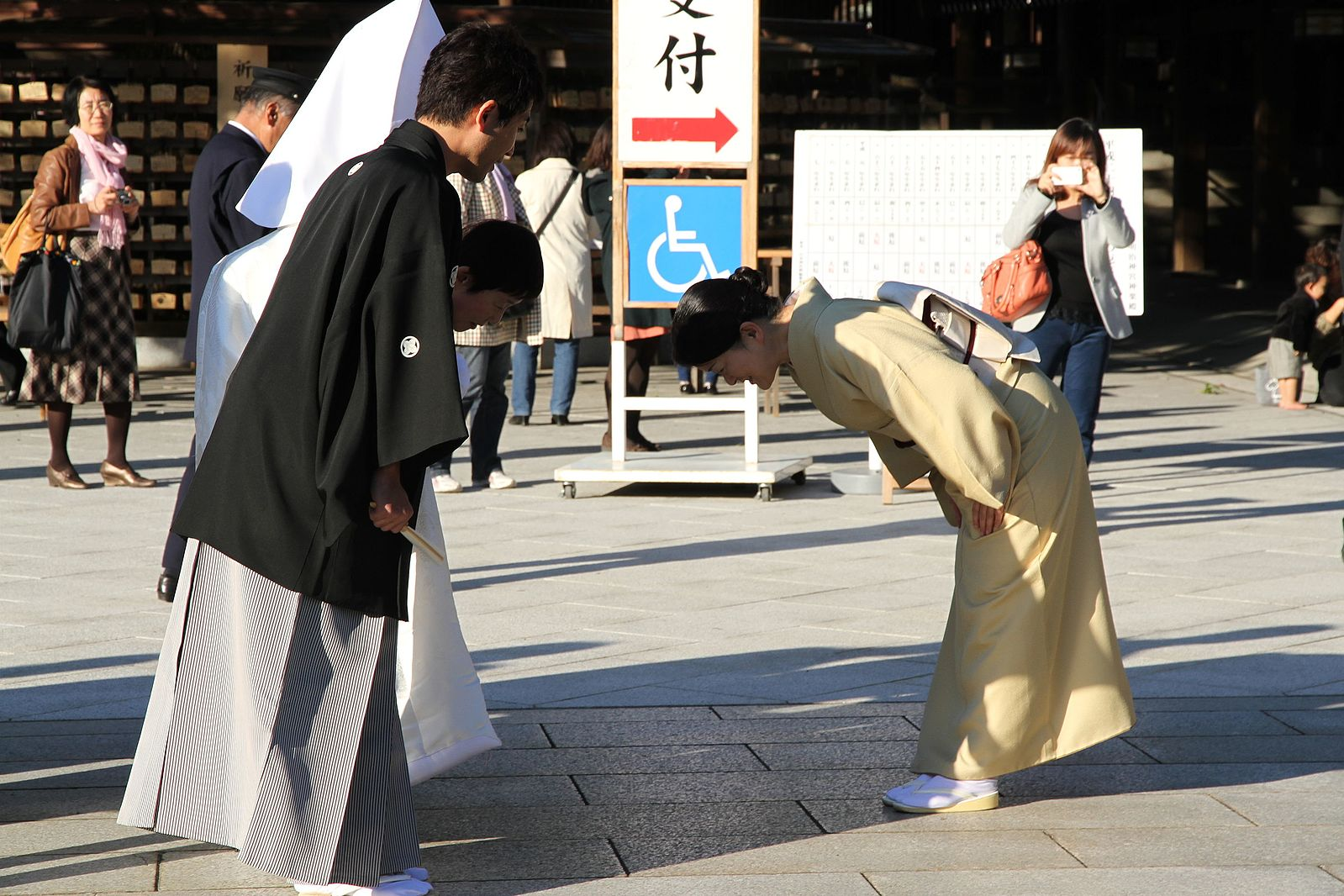 Bowing in Japan is used in greetings, to express gratitude, or apology as an indication of respect.