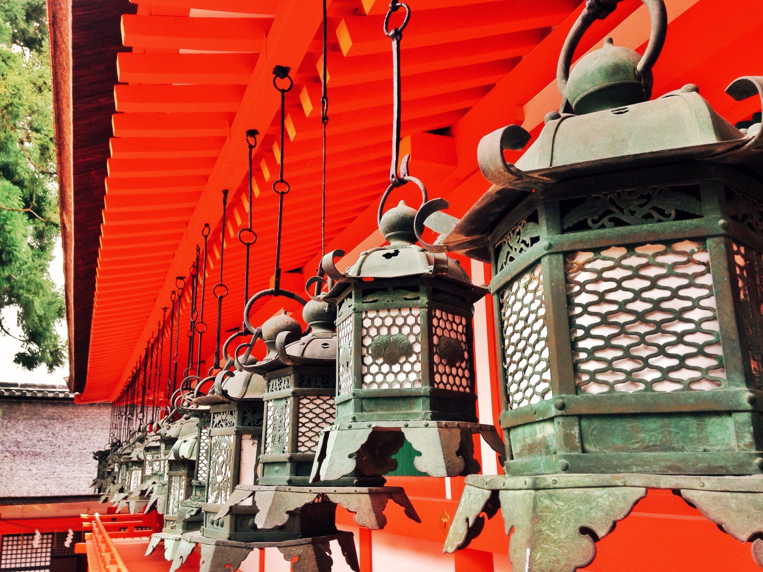 Lanterns from the historical Fushimi-Inari Shrine in Kyoto, Japan.