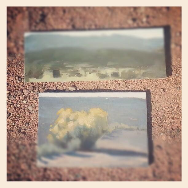 Plein air #2, Santa Fe (mark-landscape, mine-sagebrush.)