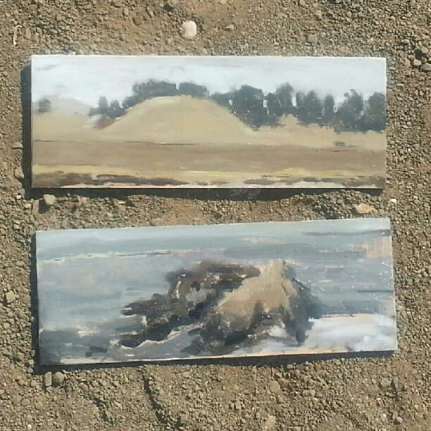 Plein air #5 & 6. I did the Top one then turned around in the exact same spot and did the second one. Hwy 1 ca.