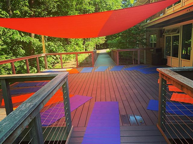 """My """"office"""" for the next two months. So psyched to have this much time to keep honing my kids yoga skills. Especially with the boys !"""